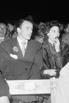 Ava Gardner and Frank Sinatra at the Yankee Stadium ringside at the Louis-Charles fight, 1950.