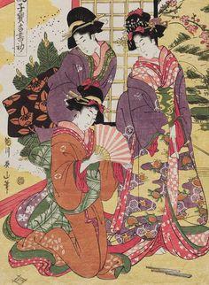 (Japan) Furyu kodakara kissho hajime, 1840 by Kikugawa Eizan woodblock print. ukiyo-e. Japanese Artwork, Japanese Prints, Japanese Illustration, Illustration Art, Botanical Illustration, Art Geisha, Japan Kultur, Japanese Woodcut, Art Chinois