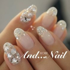 Pretty wedding nails.