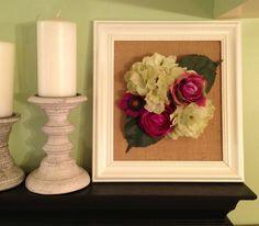 3D Flower Art - Purple and Green Flowers on Burlap - Framed Wall Art. $26.00, via Etsy.