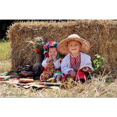 Ukrainian kids in hay stack