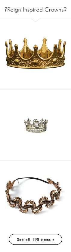 """♚Reign Inspired Crowns♚"" by fashion10496 ❤ liked on Polyvore featuring Inspired, crown, Reign, tiaras, accessories, jewelry, dolls, filler, home and home decor"