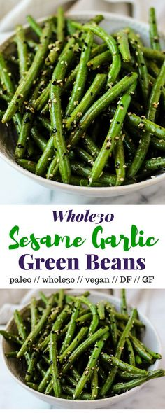 A quick and simple paleo, vegan, and Whole30 side dish, these Sesame Garlic Green Beans make the perfect pair for just about anything and come together in less than 20 minutes - Eat the Gains Paleo Side Dishes, Side Dish Recipes, Veggie Recipes, Real Food Recipes, Vegetarian Recipes, Healthy Recipes, Free Recipes, Simple Recipes, Simple Vegetable Recipes