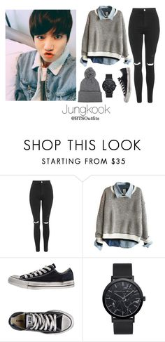 """""""Jeju Island with Jungkook"""" by btsoutfits ❤ liked on Polyvore featuring Topshop and Converse"""