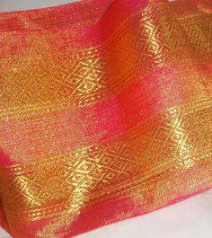 Pink Silk and Gold Brocade Trim - Handwoven by a Master Weaver using the BEST Silks and Gold Zari. Price per Yard. More Available.. $7.50, via Etsy.