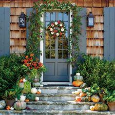 Pumpkin Ideas for Your Front Door: White Pumpkin Wreath