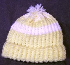 Small Childs Size Yellow & White Beanie Stocking by Stitchinthread, $8.00