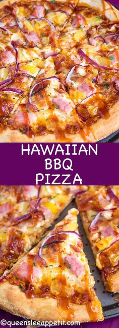 pizza recipes Hawaiian BBQ Pizza Thick and chewy pizza crust topped with tangy barbecue sauce, ham, pineapple, bacon, red onions and loads of cheese. This flavourful pizza will definitely be your familys new Friday night fave! Bbq Pizza Recipe, White Pizza Recipes, Homemade Hawaiian Pizza Recipe, Grilled Pizza Recipes, Barbecue Pizza, Barbecue Sauce, Pizza Hawaii, Red Onion Pizza, Pizza
