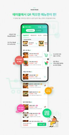 네이버 '테이블주문'을 소개합니다. : 네이버 블로그 App Ui Design, Web Design, Design Thinking, Motion Design, Design Innovation, Mobile Banner, Promotional Design, Concept Board, Mobile Ui