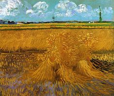 Wheatfield with Sheaves, 1888 by Vincent van Gogh. Post-Impressionism. landscape