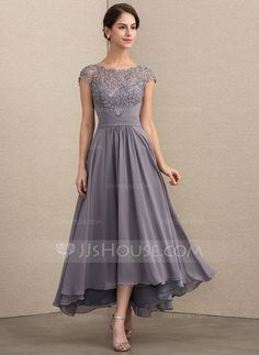 921b03c5758 A-Line Princess Scoop Neck Asymmetrical Zipper Up Cap Straps Sleeveless No  Other Colors General Plus Chiffon Lace Mother of the Bride Dress