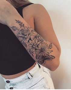 Rose Tattoos For Women, Simple Tattoos For Women, Hip Tattoos Women, Girl Arm Tattoos, Tattoos For Women Half Sleeve, Body Art Tattoos, Subtle Tattoos, Dope Tattoos, Badass Tattoos