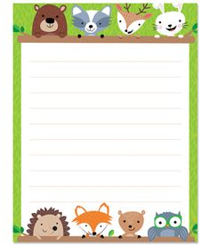 Friendly woodland creatures add a bit of whimsy to this adorable Woodland Friends Blank chart. A bear, raccoon, deer, rabbit, hedgehog, fox, squirrel, and owl peek over the blank space on this lined writing chart.