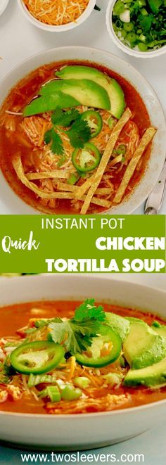 This Instant Pot Chicken Tortilla Soup will be the easiest and best one you've had! Make an authentic Mexican Chicken Tortilla Soup in your Instant Pot! Mexican Soup Recipes, Authentic Mexican Recipes, Best Soup Recipes, Healthy Recipes, Mexican Dishes, Healthy Soup, Ketogenic Recipes, Delicious Recipes, Easy Recipes