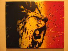 Rasta Lion Splatter  Spray Paint stencil art on by thestreetcanvas