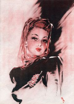 So ravishingly beautiful. #vintage #1940s #woman #illustration