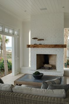 white fireplace with wood mantle - white fireplace . white fireplace with wood mantle . Painted Brick Fireplaces, Paint Fireplace, White Fireplace, Living Room With Fireplace, Fireplace Design, Living Room Decor, Living Rooms, Fireplace Ideas, Fireplace Brick