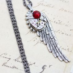 Steampunk Jewelry on Etsy Handmade A Gorgeous Clockwork Steampunk Angel Wing Necklace  Vintage Elgin Watch Movement     Welcome to Inspired