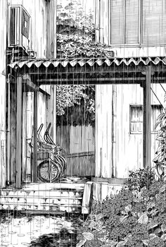 ink drawing Kiyohiko Azuma is a manga artist perhaps best known for his series Yotsuba Pen Sketch, Drawing Sketches, Art Drawings, Cityscape Drawing, Building Sketch, Drawn Art, Manga Artist, Art Et Illustration, Urban Sketching
