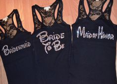 4 Bridesmaid Half Lace Tank Top. V-NECK Maid of Honor. Matron of Honor. Mother of The Bride. Bridal Party. Bachelorette Party Tank Tops. on Etsy, $63.80