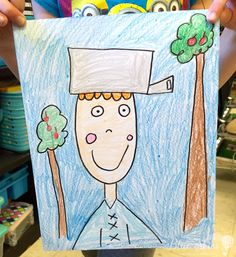 ideas Johnny Appleseed Directed Drawings -Johnny Appleseed activity and ideas - First . Johnny Appleseed Directed Drawings -Johnny Appleseed activity and ideas - First Grade Blue Skies September Art, September Crafts, September Activities, September Themes, Autumn Activities, Art Activities, Reading Activities, First Grade Art, Second Grade