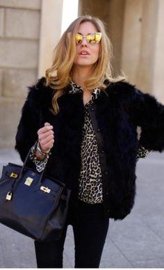 Chiara Ferragni Black Fur Jacket, Leopard top