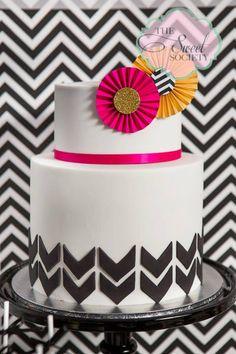 BLACK AND WHITE CHEVRON BIRTHDAY/chevron-cake