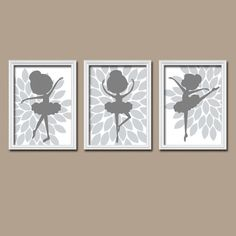 BALLERINA Wall Art CANVAS or Prints Grey Choose Your by TRMdesign