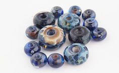 Dark Blue Orphan Beads - Artisan Lampwork Boro Glass - Large Rondelles, Small Rounds - Earring Pairs - Necklace Bracelet Beads - Blue Hutch by TheBlueHutch on Etsy https://www.etsy.com/listing/510200565/dark-blue-orphan-beads-artisan-lampwork