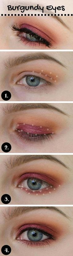 Best Eyeshadow Tutorials - Burgundy Make-up Look - Easy Step by Step How To For Eye Shadow - Cool Makeup Tricks and Eye Makeup Tutorial With Instructions - Quick Ways to Do Smoky Eye, Natural Makeup, Looks for Day and Evening, Brown and Blue Eyes - Cool Ideas for Beginners and Teens http://diyprojectsforteens.com/best-eyeshadow-tutorials #makeuplooksstepbystep