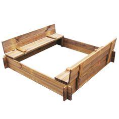 Large Wooden Garden 1.2 m Square Sandbox Sandpit with Lid & Seats Impregnated   eBay