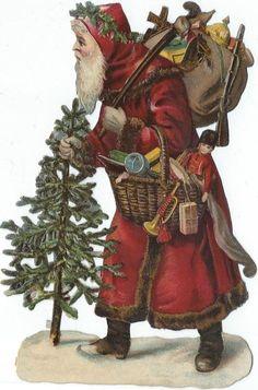 Oblaten Glanzbild scrap die cut Nikolaus 13cm santa father christmas Weihnachten