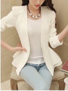 Long Sleeve  Cotton Blazers Blazers from fashionmia.com