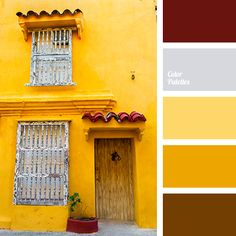 brick red, brown, burgundy, chocolate, color of egg yolk, colors of Spain, gray, saffron, selection of color for house, selection of color in interior, shades of warm colors, shades of yellow, silver, warm brown, warm yellow, Yellow Color Palettes.