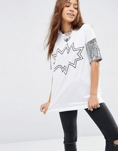 ASOS T-Shirt With Sequin Print And Sleeves