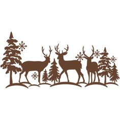 Silhouette Design Store - View Design #165088: reindeer winter scene