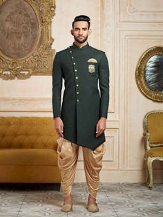 <br> Shop Green party wear indo western in terry rayon fabric online from India. Mens Indian Wear, Indian Groom Wear, Indian Men Fashion, Mens Fashion Suits, Male Fashion, Mens Suits, Fashion Trends, Kurta Pajama Men, Kurta Men