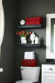 Prepare for Holiday House Guests: Paint Your Guest Bathroom Bold interior design style? Pick a darker, more vibrant hue to liven up your guest bathroom. Prepare for Holiday House Guests: Paint Your Guest Bathroom from Bathroom Bliss by Rotator Rod Deco Wc Original, Diy Casa, Bathroom Inspiration, Bathroom Ideas, Bathroom Shelves, Downstairs Bathroom, Bathroom Colors, Bathroom Storage, White Bathroom