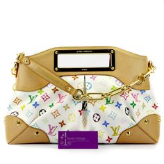#LV Judy Gm Blanc Multicolour Canvas With Leather Good Conditions ref.code-(KCOY-8)