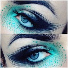 "The make-up artist - ""I kind of took the and pimped it up a bit ✓ Used microshadows Harlequin, Muffin & Pollution, Surface eyedust, Black eye pencil and Black…"" Makeup Inspo, Makeup Art, Makeup Inspiration, Makeup Tips, Beauty Makeup, Anime Eye Makeup, Bird Makeup, Makeup Ideas, Cosplay Makeup"