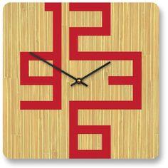 10 en reloj de pared moderna de bambú de Cornell por pilotdesign, $74.00