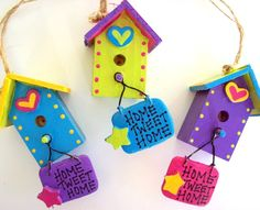 Colorful Birdhouse Ornaments by TheHeadsCreation on Etsy