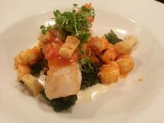 New entree: roasted Cod, rock shrimp, tomato ragu, mustard greens. $29