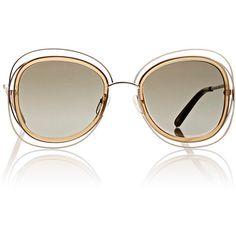 Chloé Women's Carlina Sunglasses featuring polyvore, women's fashion, accessories, eyewear, sunglasses, multi, over sized sunglasses, oversized glasses, nose pads glasses, oversized eyewear and translucent glasses