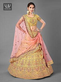 Rs13,400.00 Plus Size Lehenga, Wedding Lehenga Online, Yellow Lehenga, Indian Bridal Lehenga, Designer Bridal Lehenga, Choli Designs, Blouse Designs, Lehenga Blouse, Yellow