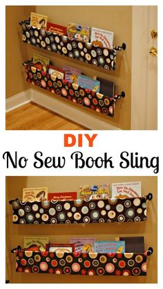 Diy wall mounted book sling book sling organizing and towels diy no sew book sling solutioingenieria Choice Image