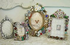 Shabby Chic Frames using vintage costume jewelry and brooches. Great idea!