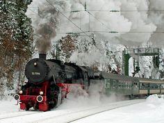 Black forest historical steam train in winter