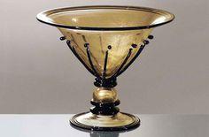 #Vaso #vetro Vaso in vetro trasparente oro e nero H. 28 cm – ø. 35 cm Alzata / centro tavola tutto oro sommerso con decori riportati neri