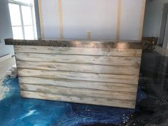 The Hello Shabby - 6 foot Shabby Chic Rustic Barn Wood or Pallet Style 2 level Reception desk Dark Wood Kitchen Cabinets, Dark Wood Kitchens, Into The Woods, Rustic Barn, Rustic Wood, Reclaimed Wood Wallpaper, Shabby Chic, Wood Tile Floors, Wood Desk